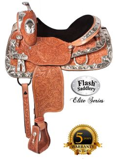 This #saddle shines with wide silver trim that borders the entire saddle. Large star conchos shine throughout the saddle, including the stirrups. The silver horn crowns this saddle making this limited edition show saddle a masterpiece. The suede seat is extra padded for rider comfort and the underside is thickly lined with fleece for horse comfort. The skirt is a close-contact cut which will allows the best rider to horse communication. #showsaddle