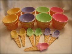 Vintage plastic ice cream cone dishes with spoons ,  ice cream condiment dishes, yogurt condiment dishes( 8 cones, 7 spoons). $18.00, via Etsy.