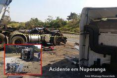 Cabine de caminhão é arrancada em acidente em Nuporanga