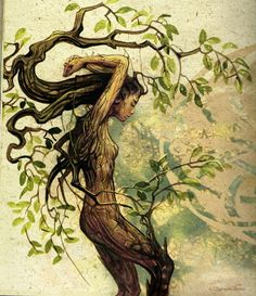 Dryad by Séverine Pineaux Earth Art nymph fairy pixie magic fantasy art trees tree spirit nature woodland Fantasy Creatures, Mythical Creatures, Fantasy Kunst, Fantasy Art, Inspiration Art, Tree Art, Tree Of Life, Concept Art, Drawings