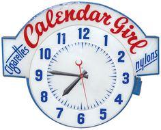 Calendar Girl Neon clock