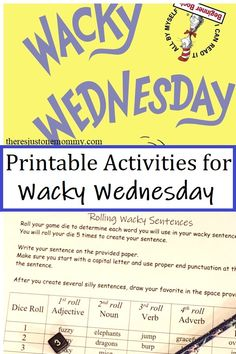 Celebrate your own Wacky Wednesday with these fun printable activities to go with the book #DrSeussactivities #WackyWednesday #printables Dr Seuss Activities, Spelling Activities, Kids Learning Activities, Language Activities, Writing Activities, Educational Activities, Writing Prompts For Kids, Kids Writing, Teaching Tips