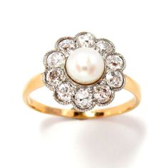 Ring Platinum and 14 K Gold  Pearl  Diamond Edwardian Size 8 Vintage