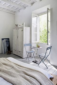 (serene bedrooms by the style files, via Flickr. ) Like the rustic cabinet...check out Piranesi