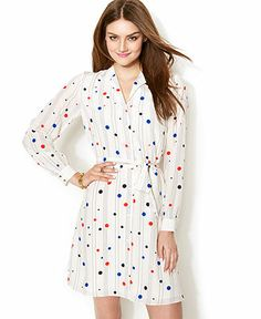 Zooey Deschanel for Tommy Hilfiger Polka-Dot Printed Shirtdress - to TOMMY from ZOOEY - Women - Macy's