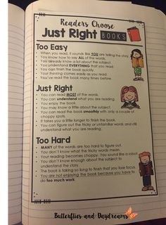 Reader's Choose Just Right Books {Reading Notebook Anchor Charts}