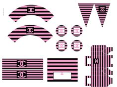 Classy& Fabulous coco chanel party printables in pink black and white stripes