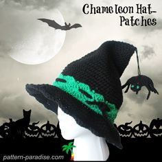 Chameleon Patches Witch Hat | Pattern for Witch Hat and Scarecrow Hat. Can also be used as Wizard Hat Pattern.