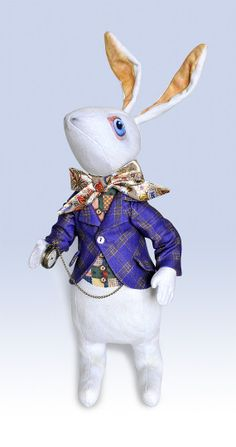 """The White Rabbit """"I'm Late"""" doll with printed """"tweed"""" jacket. Alice in Wonderland Art Doll by Baba Studio."""