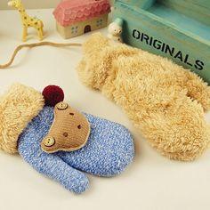 Wholesale Children's Knitted Full Finger Gloves Kids Bear Mitten, View Full…
