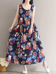 Sale 29% (24.89$) - Women Sleeveless Printed Round Neck Loose Hem Dresses