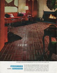 "1965 KENTILE FLOORS vintage magazine advertisement ""Love the idea"" ~ Love the idea of a beautiful brick floor? ... Living-room floor features new Kentile Colonial Brick Solid Vinyl in 9"" x 9"" tiles. Color shown: Georgetown Red. ... Floor design and ..."
