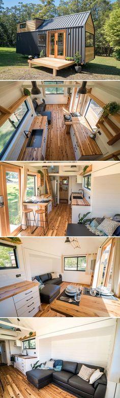Tyni House, Tiny House Cabin, Tiny House Living, Tiny House Plans, Tiny House On Wheels, Small Living Rooms, Living Spaces, Modern Tiny House, Tiny Cabins