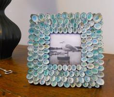 Handmade azure blue seashell picture frame 8 X 8 by madebymano, $155.00