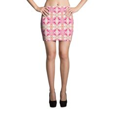 Diamond & Rose Pattern Mini Skirt