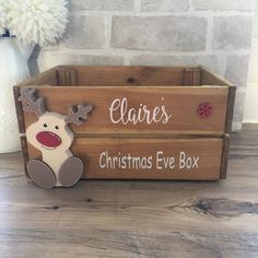 Excited to share this item from my shop: Christmas eve box, Christmas Eve crate, personalised wooden christmas box, reindeer Christmas Eve box Christmas Eve Box For Kids, Wooden Christmas Eve Box, Xmas Eve Boxes, Wooden Christmas Decorations, Christmas Gift Baskets, Christmas Projects, Halloween Decorations, Christmas Holidays, Christmas Gifts