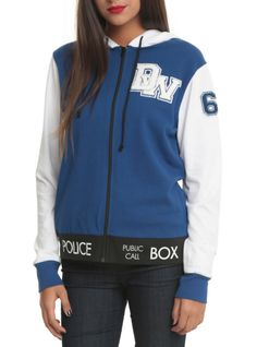 Doctor Who zip hoodie with varsity style TARDIS design....If someone got this for my birthday I'd want nothing more.