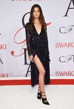Pin for Later: See All the CFDA Awards Glamour Straight From the Red Carpet Lily Aldridge In Tabitha Simmons heels.