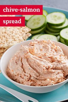 Chive-Salmon Spread – Keep two ingredients on hand and you'll always have a delicious salmon appetizer spread that's just minutes away from serving. Simply combine canned salmon with  PHILADELPHIA Chive & Onion Cream Cheese Spread—it's that easy.