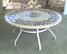 mosaic tabletop ideas | wide custom broken tile mosaic table top for a homeowner to replace ...