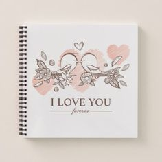 Adorable Lovebirds In Love Valentine Guestbook Notebook - simple clear clean design style unique diy