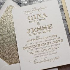 glitter gold wedding invitations #glitter #stationery #wedding #invitations http://justinviteme.com/collections/styled-collections/products/kristin-suite-glitter-package