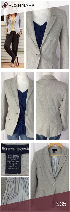 """Boston Proper Jersey Knit Blazer 'More stylish than a hoodie but more relaxed than a typical blazer'. This Heather grey jersey Knit Blazer is exactly that... comfortable and stretchy like a tee but presents like a blazer. Single front button closure with minimal lapels, long sleeve and full lining. Please note the discoloration on the lining, as seen in last pic. Otherwise in great condition. Size 6; 18.5"""" chest, 24"""" length. Boston Proper Jackets & Coats Blazers"""