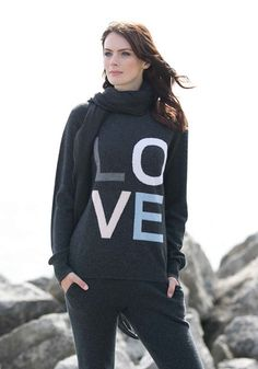 How could you not LOVE this sweater! Our love sweater is subtle enough to be worn and loved by anyone. With two fun colourways to choose from, anyone would love Valentine Day Gifts, Valentines, Cashmere, Graphic Sweatshirt, Gift Ideas, Love, Sweatshirts, Sweaters, Shopping