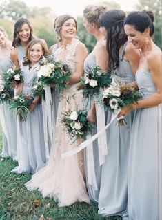 Bridesmaids in dusty blue in love w this muted pastel palette