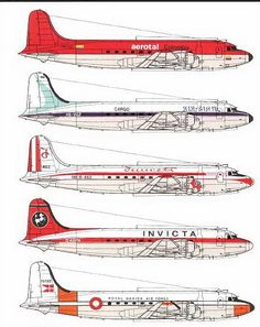 DC 4 Douglas Dc 4, Side View Drawing, Airplane Drawing, Airline Logo, Passenger Aircraft, Flying Boat, Commercial Aircraft, Civil Aviation, Aircraft Carrier