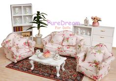 Dollhouse Miniature Living Room Furniture Set 3pcs two Armchairs one Couch  #Iland