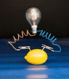 A lemon battery experiment involves the use of a juicy lemon, copper coin and zinc nail to form a lemon battery. When four such lemon batteries are combined, they produce enough voltage to light up an LED (light emitting diode).