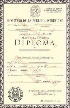 Repubblica Italiana Italy Fake Diploma Sample From Phonydiploma