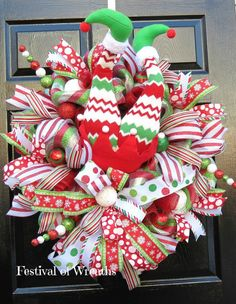Christmas Deco Mesh Wreath Christmas Front by FestivalofWreaths