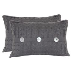 Cable Knit Oblong Throw Pillow with Pearl Buttons and  Plush Fur Back