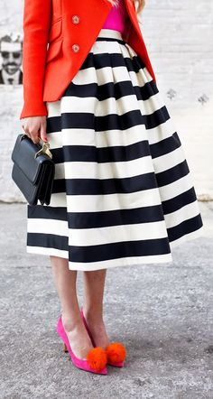 Stripes skirt with bright colors