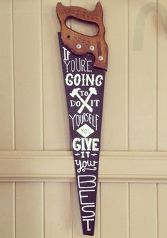 Hand painted typography on vintage saw. on Etsy, $115.04