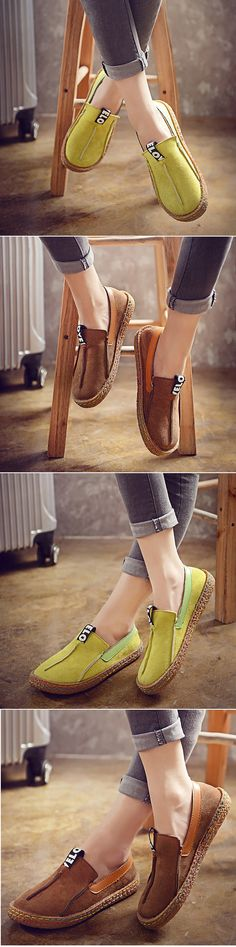 US$13.00 Suede Pure Color Slip On Stitching Flat Soft Shoes For Women