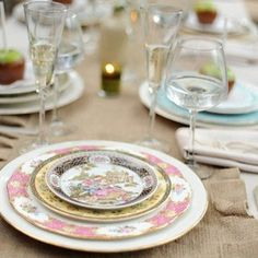 Sugarbaker & Toad mismatched china at a vintage styled wedding.  Love the burlap runner.  Photo by sugarbakerandtoad
