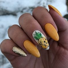Keep reading for 90 of our favorite easy winter nail designs to add to your manicure to-do list. gelb Let these 90 winter nails designs ideas inspire your next manicure Summer Acrylic Nails, Best Acrylic Nails, Summer Nails, Summer Nail Art, Spring Nails, Yellow Nails Design, Yellow Nail Art, Diy Nails, Cute Nails