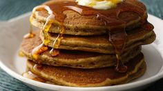 Spice up your morning with pancakes flavored with rich apple butter, ginger, cinnamon and nutmeg.