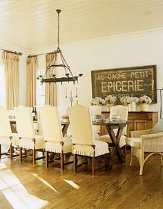 LaurieAnna's Vintage Home: Farmhouse Dining Room Inspiration  Large Chalkboard in Dining Room