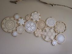 We create both custom dreamcatchers as well as wall murals for your home that are handmade on the Northern Beaches of Sydney. We started making dreamcatchers to bring you lovely dreams and a… Doilies Crafts, Crochet Doilies, Framed Doilies, Cuadros Diy, Doily Art, Embroidery Hoop Crafts, Dream Catcher Boho, Dreamcatchers, Geometric Wall