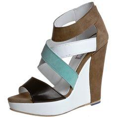 Serafini CARRIE Platform sandals white/aquamarine ($145) ❤ liked on Polyvore