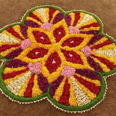 pookalam from my sister's wedding Easy Rangoli Designs Diwali, Rangoli Designs Flower, Diwali Diy, Flower Rangoli, Kolam Designs, Simple Rangoli, Flower Designs, Diwali Decorations At Home, Indian Wedding Decorations