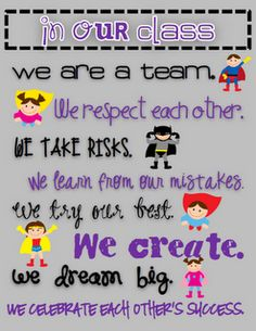 """Teaming Up To Teach: Superhero Classroom Theme. """"In Our Class We are a Team. Superhero School, Superhero Classroom Theme, Classroom Rules, Classroom Posters, Classroom Design, Classroom Displays, Future Classroom, Classroom Themes, School Classroom"""