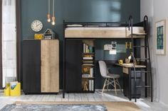 New York Compact tienerkamer slaapkamer Specialist in kinderkamers en slaapkamers Teen Loft Bedrooms, Bedroom Loft, Small Room Design, Kids Room Design, Jugendschlafzimmer Designs, Furniture Disposal, Kids Play Spaces, High Beds, Teen Bedroom Designs