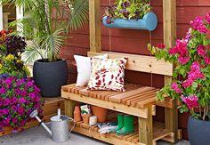 Bench with hanging flower garden