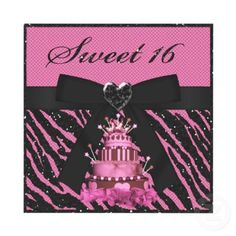Sweet 16 Pink Princess Cake & black glitter animal print birthday party invitations with cute digital ribbon & bow and pretty jewel heart. Decorated both sides. Easy to customize. $1.95