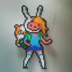Fionna and Cake Adventure Time hama perler beads by lorena_vll